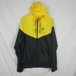 Nike Sportsware Zip Up Yellow and Grey Hooded Coat